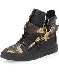 Giuseppe Zanotti Eagle Medallion Camo Calf Hair Hi-top Sneaker - Lyst