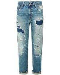 Denim & Supply Ralph Lauren Distressed High Rise Boyfriend Jeans - Lyst