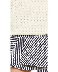 Jay Ahr - Studded Striped Cotton Dress - White/Navy - Lyst
