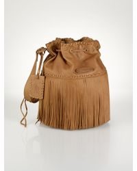 Polo Ralph Lauren Large Fringed Hobo Bag - Lyst
