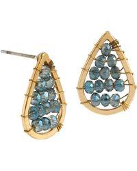 Kenneth Cole - Woven Blue Glitz Teardrop Stud Earrings - Lyst