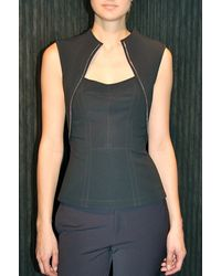 Yigal Azrouel Mechanical Stretch Top with Zip Black - Lyst