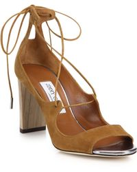 Jimmy Choo | Vernie Suede Lace-up Sandals | Lyst