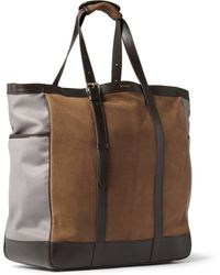 Paul Smith Washed-Leather And Suede Tote Bag - Lyst