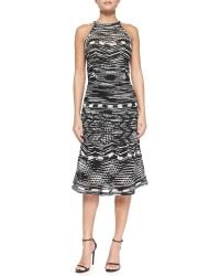 M Missoni Crochet Zigzag Knit Halter Dress with Back Keyhole - Lyst