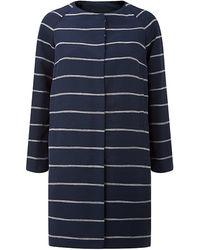 Max Mara Striped Collarless Coat - Lyst