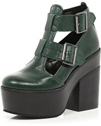 River Island Dark Green Cut Out Platform Shoe Boots - Lyst