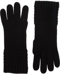 Barneys New York Black Basketweave Gloves - Lyst