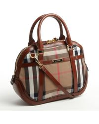 Burberry Canvas and Leather Check Orchard Bowler Bag - Lyst