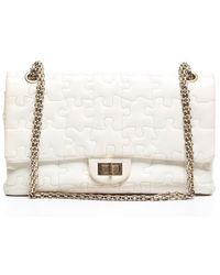 Chanel Preowned White Patent Leather Jumbo Puzzle Double Flap Bag - Lyst