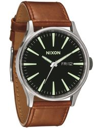 Nixon Sentry Leather Brown Watch - Lyst