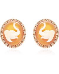 Amedeo | Handcarved Cornelian Shell Cameo Earrings Set in Roseplated Silver with Brown Diamonds | Lyst