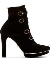 Repetto Black Suede Alba Ankle Boots - Lyst