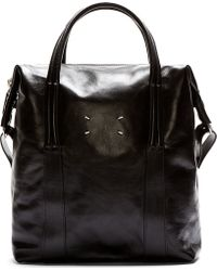Maison Martin Margiela Black Leather Deep Tote Bag - Lyst