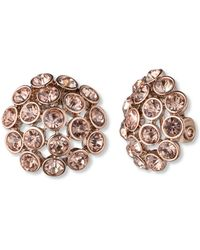 Anne Klein - Rose Gold-Tone Crystal Cluster Clip-On Earrings - Lyst