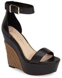 Jessica Simpson 'Arista' Wedge Sandal black - Lyst