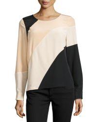 Diane Von Furstenberg Silk Asymmetric Colorblock Top - Lyst