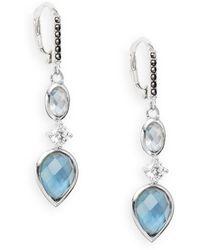 Judith Jack - Pale Blue Stone & Sterling Silver Linear Drop Earrings - Lyst
