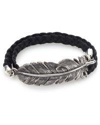 King Baby Studio Double-Wrap Raven Feather & Leather Bracelet silver - Lyst
