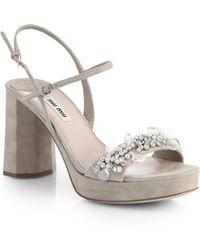 Miu Miu Jeweled Platform Sandals - Lyst