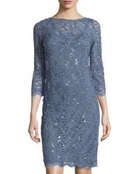 Marina Boat-Neck Lace Cocktail Dress - Lyst
