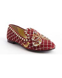 Giuseppe Zanotti Red Suede Jewel And Brass Studded Flats - Lyst