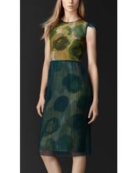 Burberry Floral Silk-Tulle Shift Dress - Lyst