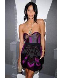 Coven - Strapless Grey/purple Dress - Lyst