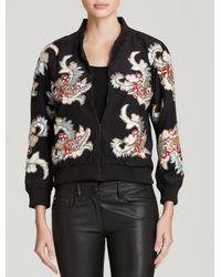 Alice + Olivia Felisa Beadedembroidered Silk Bomber Jacket - Lyst