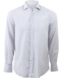 Brunello Cucinelli Check Spread Collar Shirt gray - Lyst
