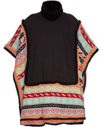 Michaela Buerger - Wool-knit Trimmed Jersey Poncho - Lyst