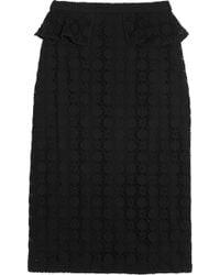 Burberry Prorsum Crocheted Lace Peplum Pencil Skirt - Lyst