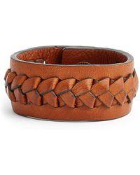 Frye - 'jenny' Braided Leather Bracelet - Whiskey - Lyst