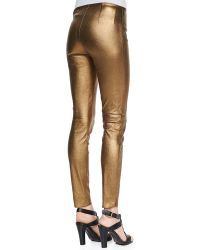 Ralph Lauren Black Label Metallic Leather Skinny Pants - Lyst