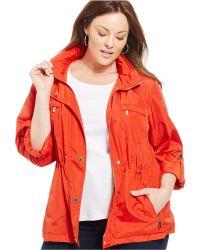 Jones New York Signature Plus Size Hooded Anorak red - Lyst
