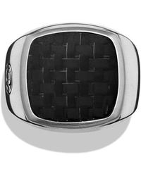 David Yurman Signet Ring with Bronze Lightning Strike Carbon Fiber - Lyst