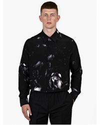 AMI Black Oversized Abstract Print Silk Shirt black - Lyst