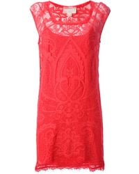Nicole Miller Floral Lace Shift Dress - Lyst