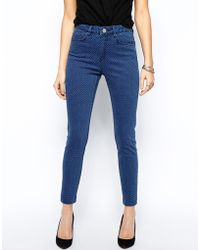 Asos Ridley High Waist Ultra Skinny Ankle Grazer Jeans in Tile Print - Lyst