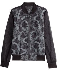 Anna Sui Bomber Jacket With Embroidered Tulle - Lyst
