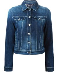 Armani Jeans Embellished Pocket Denim Jacket - Lyst