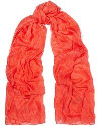 Donna Karan - Crinkled-silk Chiffon Scarf - Lyst