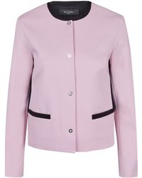 Paul Smith Black Label Light Pink Contrast Trim Collarless Jacket