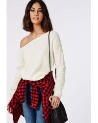 Missguided Ophelita Off Shoulder Knitted Jumper Cream - Lyst