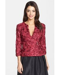 Marina Floral Soutache Faux Wrap Jacket - Lyst