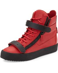 Giuseppe Zanotti Matteleather Hightop Sneaker Red - Lyst