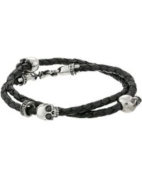 King Baby Studio Thin Braided Black Leather W Hamlet Skulls Double Wrap Bracelet - Lyst