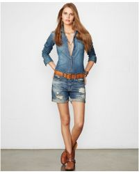 Denim & Supply Ralph Lauren Distressed Denim Shorts - Lyst
