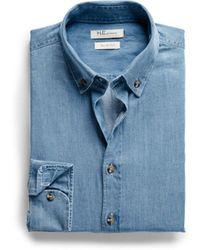Mango Slimfit Chambray Shirt - Lyst