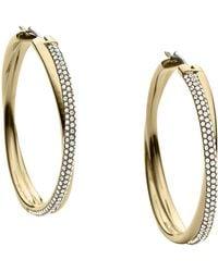Michael Kors - Goldtone Crystal Pavã Crossover Hoop Earrings - Lyst